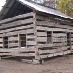 Front/side view of log home