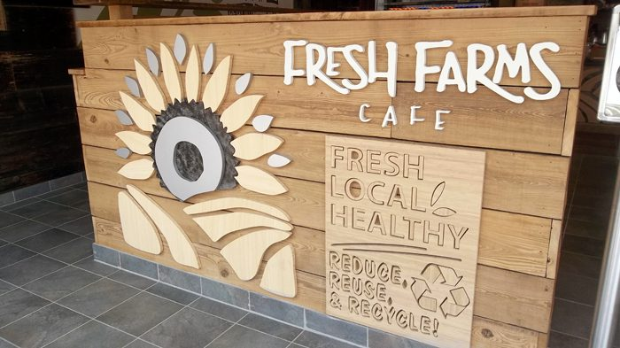 Fresh Farms Cafe is located at Franklin & Marshall College in Lancaster,  Pennsylvania. They used unpainted barn siding in various colors. - Fresh Farms, Lancaster PA Uses Reclaimed Wood Old Reclaimed Wood