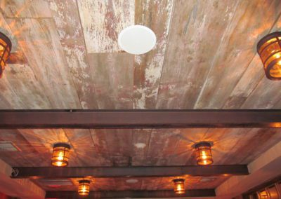 Reclaimed Painted Siding on Ceiling
