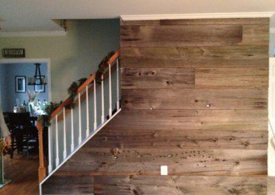 Reclaimed Brown Wood Barn Siding Used as Wall