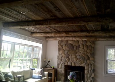Reclaimed brownboard ceiling example